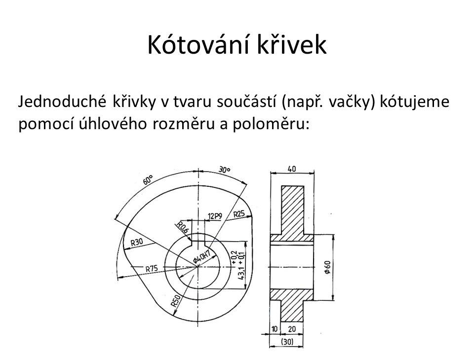 Kótování křivek Jednoduché křivky v tvaru součástí (např. vačky) kótujeme pomocí úhlového rozměru a poloměru: