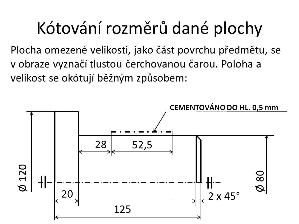 Kótování rozměrů dané plochy Plocha omezené velikosti, jako část povrchu předmětu, se v obraze vyznačí tlustou čerchovanou čarou. Poloha a velikost se