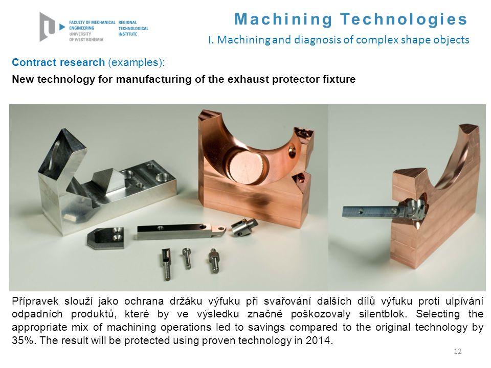 12 Contract research (examples): New technology for manufacturing of the exhaust protector fixture Přípravek slouží jako ochrana držáku výfuku při sva