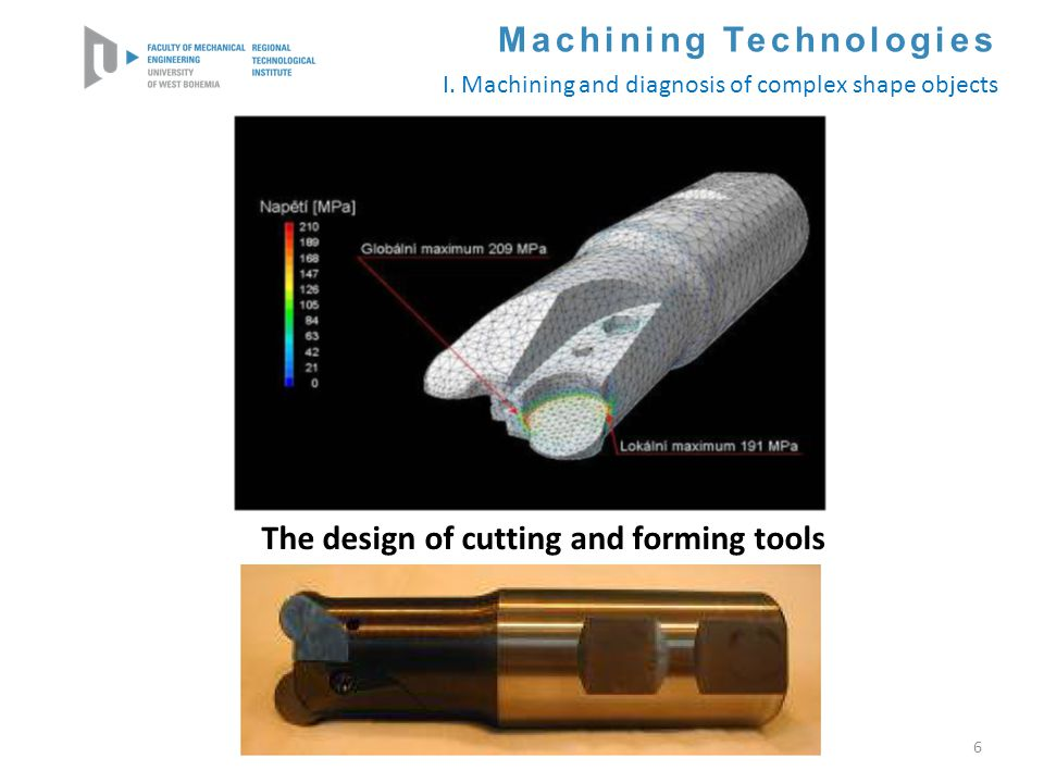 6 Machining Technologies I. Machining and diagnosis of complex shape objects The design of cutting and forming tools