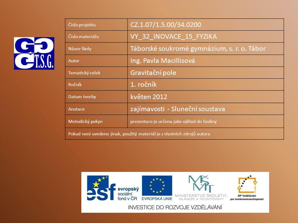 Číslo projektu CZ.1.07/1.5.00/34.0200 Číslo materiálu VY_32_INOVACE_15_FYZIKA Název školy Táborské soukromé gymnázium, s.