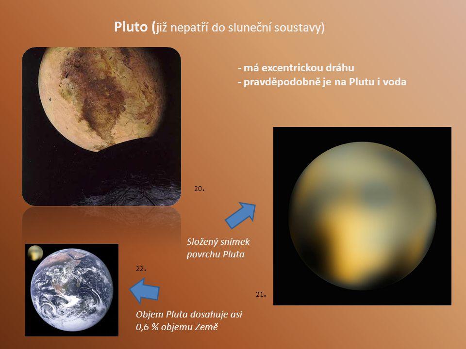 Pluto ( již nepatří do sluneční soustavy) - má excentrickou dráhu - pravděpodobně je na Plutu i voda Složený snímek povrchu Pluta Objem Pluta dosahuje asi 0,6 % objemu Země 20.