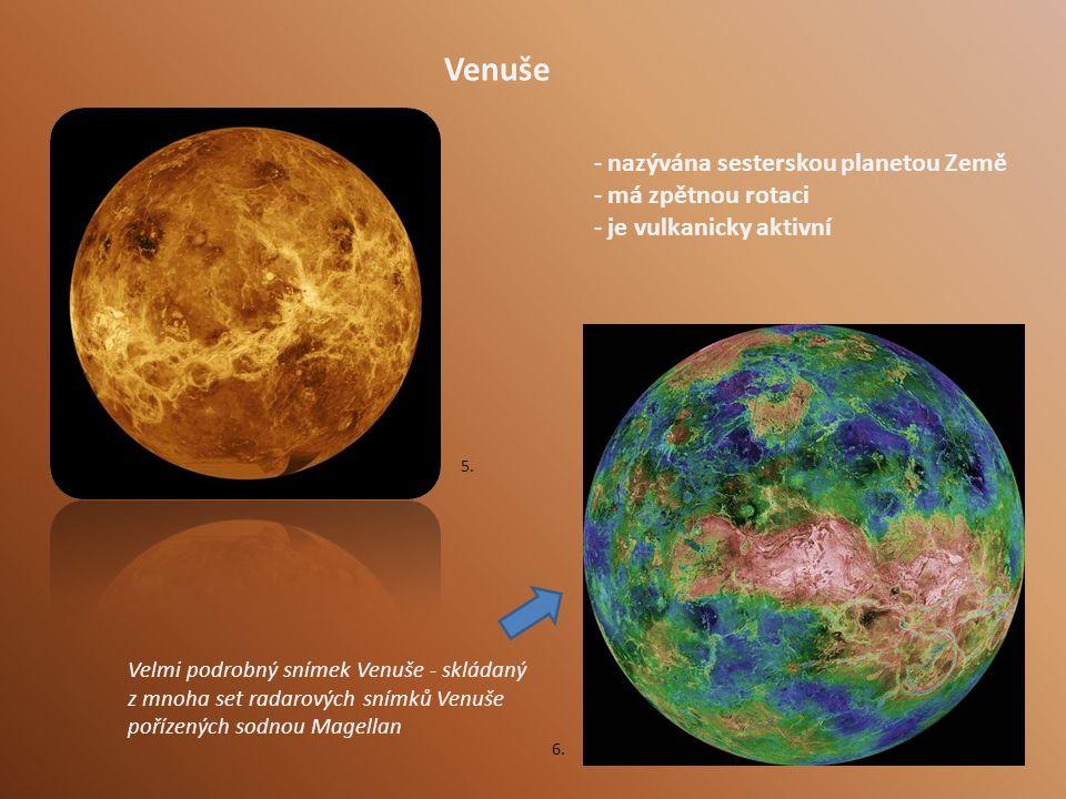Venuše - nazývána sesterskou planetou Země - má zpětnou rotaci - je vulkanicky aktivní Velmi podrobný snímek Venuše - skládaný z mnoha set radarových snímků Venuše pořízených sodnou Magellan 5.