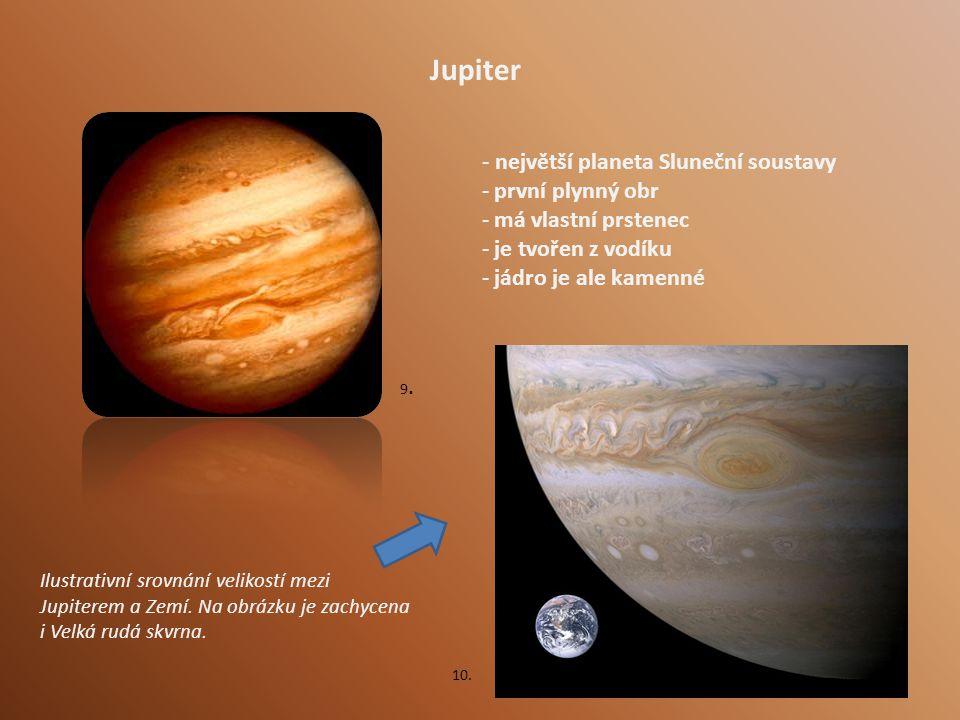 Jupiter - největší planeta Sluneční soustavy - první plynný obr - má vlastní prstenec - je tvořen z vodíku - jádro je ale kamenné Ilustrativní srovnání velikostí mezi Jupiterem a Zemí.