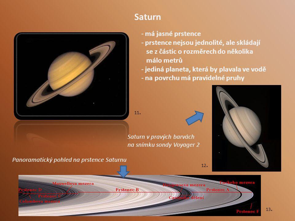 Saturn - má jasné prstence - prstence nejsou jednolité, ale skládají se z částic o rozměrech do několika málo metrů - jediná planeta, která by plavala ve vodě - na povrchu má pravidelné pruhy Saturn v pravých barvách na snímku sondy Voyager 2 Panoramatický pohled na prstence Saturnu 11.
