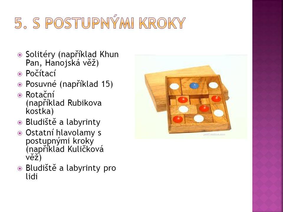  Solitéry (například Khun Pan, Hanojská věž)  Počítací  Posuvné (například 15)  Rotační (například Rubikova kostka)  Bludiště a labyrinty  Ostat