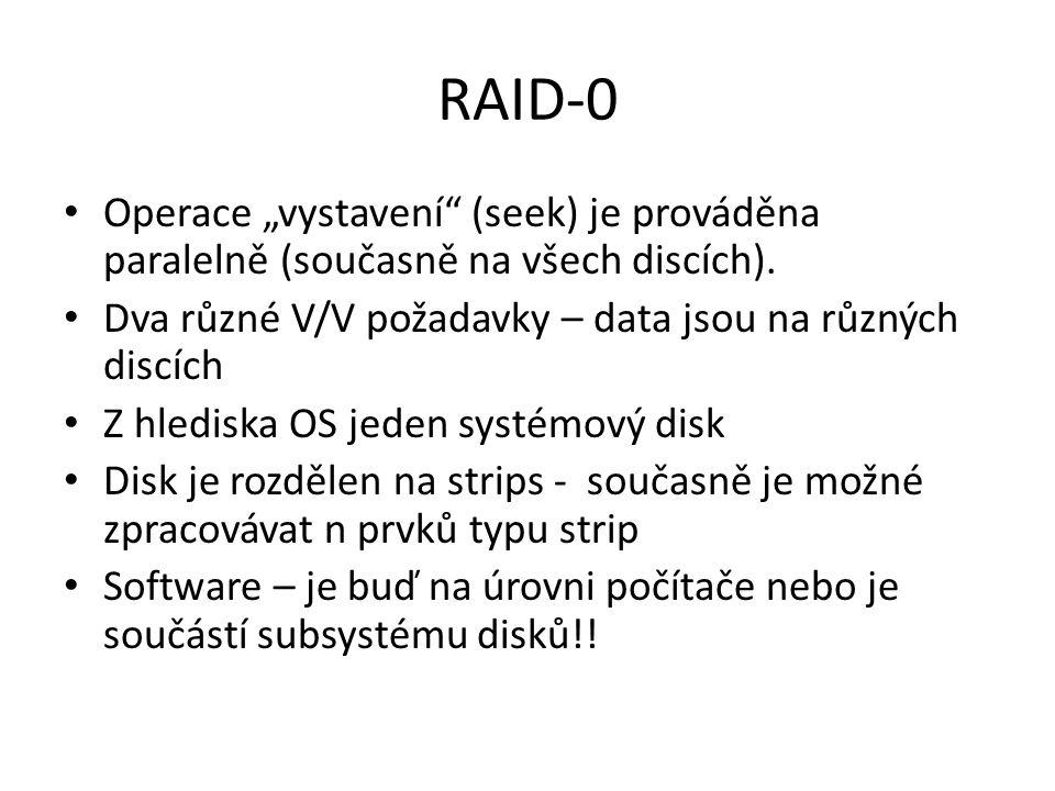 RAID-4 Vhodný pro aplikace s vysokým objemem V/V požadavků Každý disk je nezávislý.