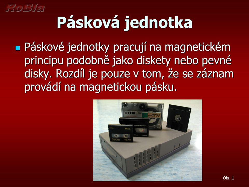 Pásková jednotka Páskové jednotky pracují na magnetickém principu podobně jako diskety nebo pevné disky. Rozdíl je pouze v tom, že se záznam provádí n