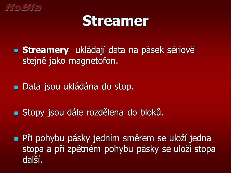 Streamer Streamery ukládají data na pásek sériově stejně jako magnetofon. Streamery ukládají data na pásek sériově stejně jako magnetofon. Data jsou u