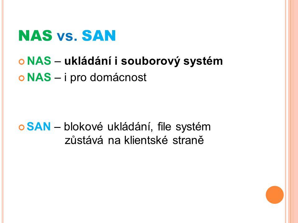 NAS vs. SAN NAS – ukládání i souborový systém NAS – i pro domácnost SAN – blokové ukládání, file systém zůstává na klientské straně