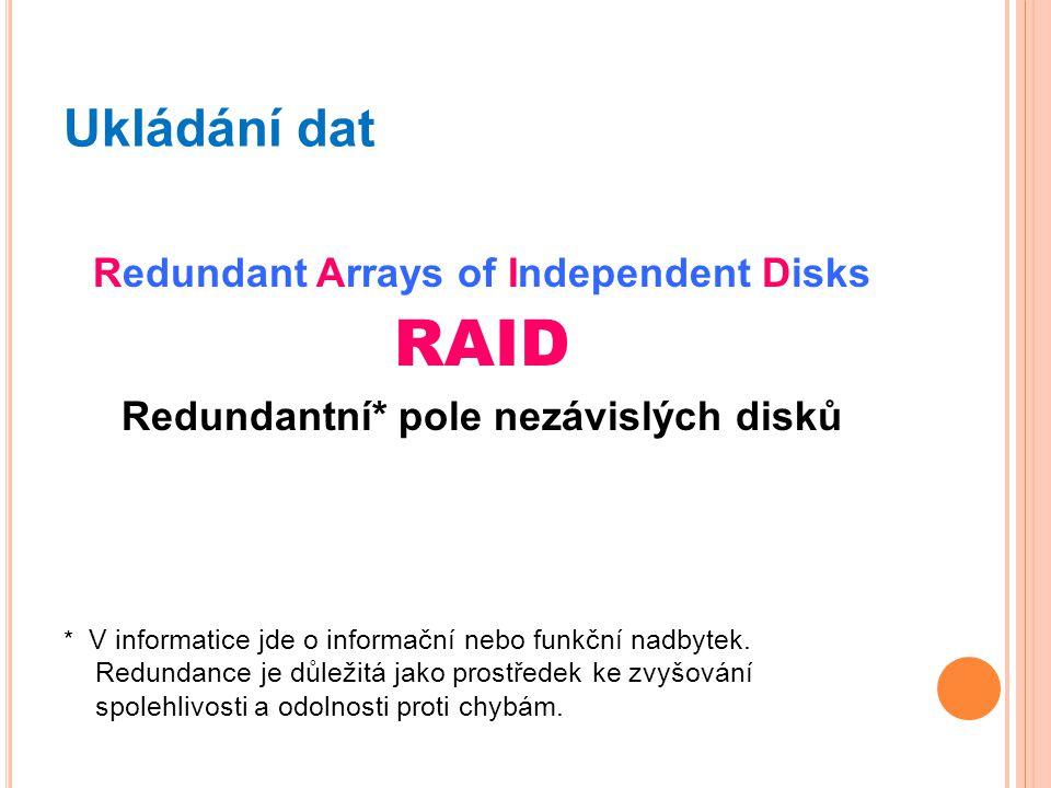 Ukládání dat Redundant Arrays of Independent Disks RAID Redundantní* pole nezávislých disků * V informatice jde o informační nebo funkční nadbytek. Re