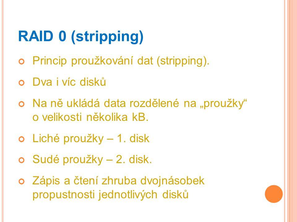 """RAID 0 (stripping) Princip proužkování dat (stripping). Dva i víc disků Na ně ukládá data rozdělené na """"proužky"""" o velikosti několika kB. Liché proužk"""