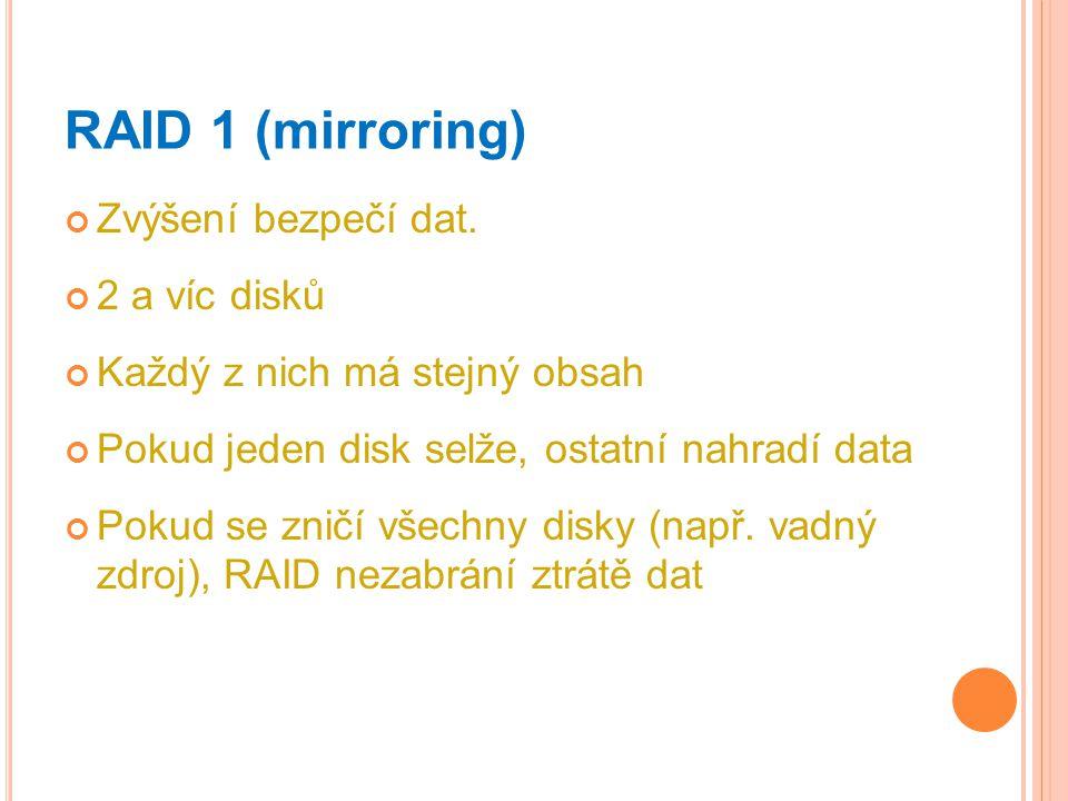 RAID 1 (mirroring) Zvýšení bezpečí dat. 2 a víc disků Každý z nich má stejný obsah Pokud jeden disk selže, ostatní nahradí data Pokud se zničí všechny
