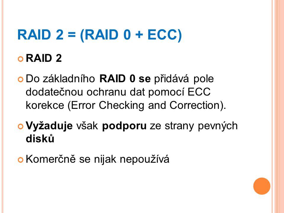 RAID 2 = (RAID 0 + ECC) RAID 2 Do základního RAID 0 se přidává pole dodatečnou ochranu dat pomocí ECC korekce (Error Checking and Correction). Vyžaduj