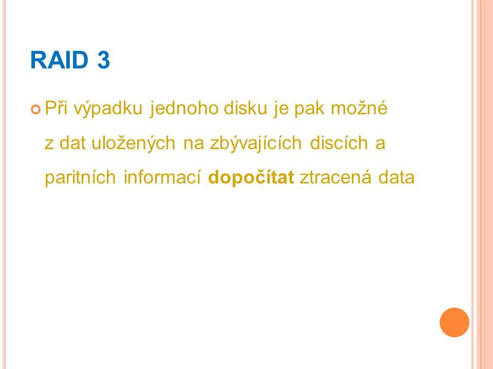 RAID 3 Při výpadku jednoho disku je pak možné z dat uložených na zbývajících discích a paritních informací dopočítat ztracená data