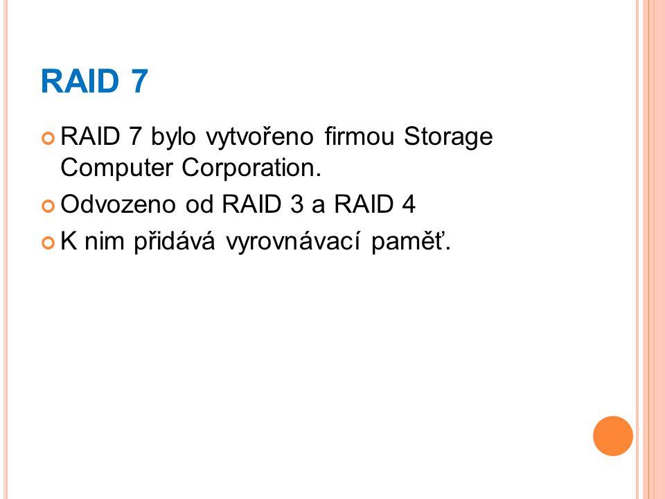 RAID 7 RAID 7 bylo vytvořeno firmou Storage Computer Corporation. Odvozeno od RAID 3 a RAID 4 K nim přidává vyrovnávací paměť.