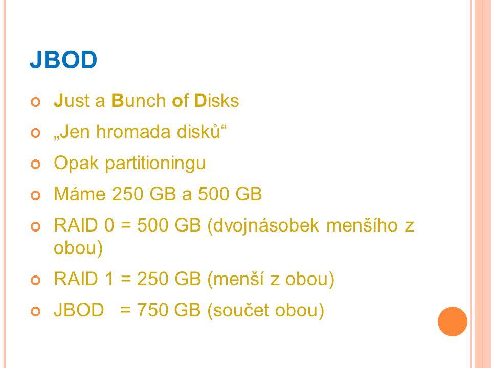 "JBOD Just a Bunch of Disks ""Jen hromada disků"" Opak partitioningu Máme 250 GB a 500 GB RAID 0 = 500 GB (dvojnásobek menšího z obou) RAID 1 = 250 GB (m"