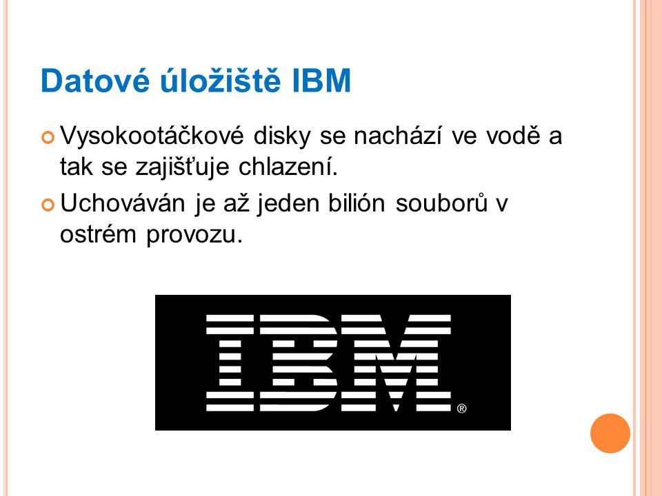 Datové úložiště IBM Vysokootáčkové disky se nachází ve vodě a tak se zajišťuje chlazení. Uchováván je až jeden bilión souborů v ostrém provozu.