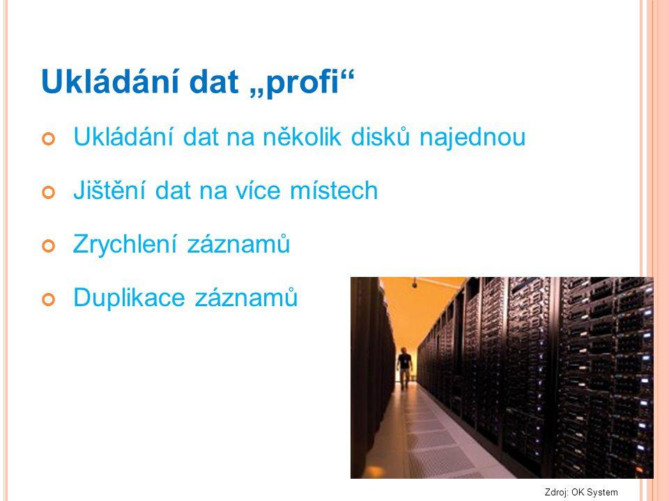 """Ukládání dat """"profi"""" Ukládání dat na několik disků najednou Jištění dat na více místech Zrychlení záznamů Duplikace záznamů Zdroj: OK System"""