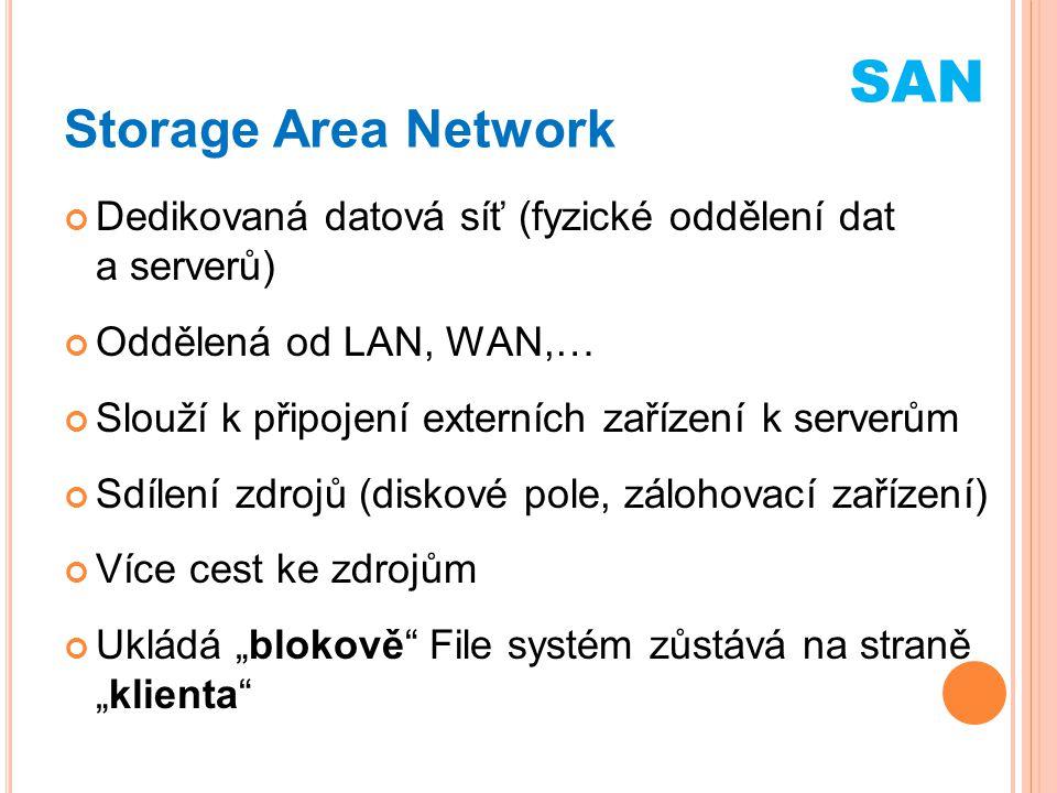 Storage Area Network Vyšší náklady Lepší propustnost Větší počet zařízení – výhoda při zálohování Vynikající bezpečnost Disaster Recovery Využití stávajících komunikačních technologií (ESCON-opt, Fibre Channel, iSCSI, ATA over Ethernet, Hyper SCSI) SAN