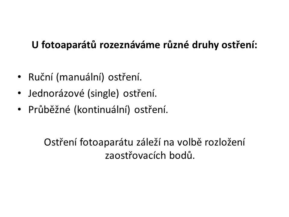 U fotoaparátů rozeznáváme různé druhy ostření: Ruční (manuální) ostření.