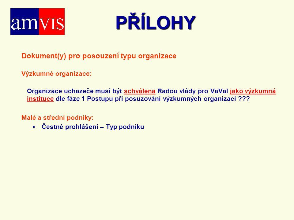 PŘÍLOHY Dokument(y) pro posouzení typu organizace Výzkumné organizace: Organizace uchazeče musí být schválena Radou vlády pro VaVaI jako výzkumná inst