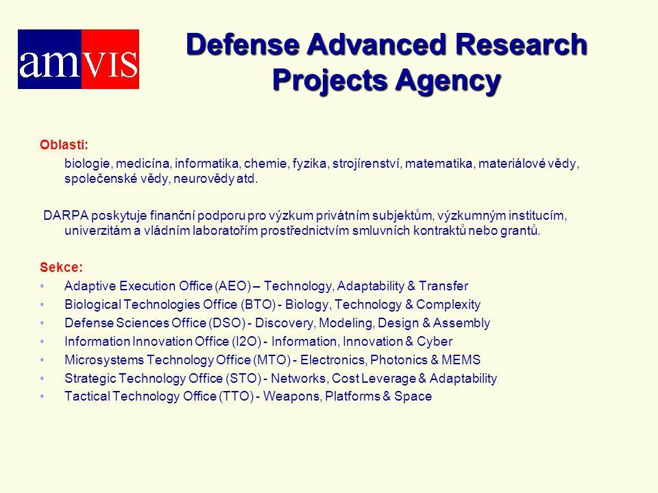 Defense Advanced Research Projects Agency Oblasti: biologie, medicína, informatika, chemie, fyzika, strojírenství, matematika, materiálové vědy, spole