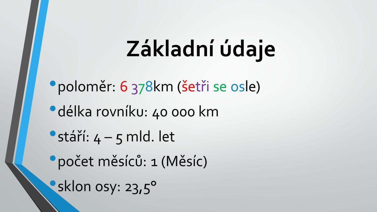 Základní údaje poloměr: 6 378km (šetři se osle) délka rovníku: 40 000 km stáří: 4 – 5 mld.