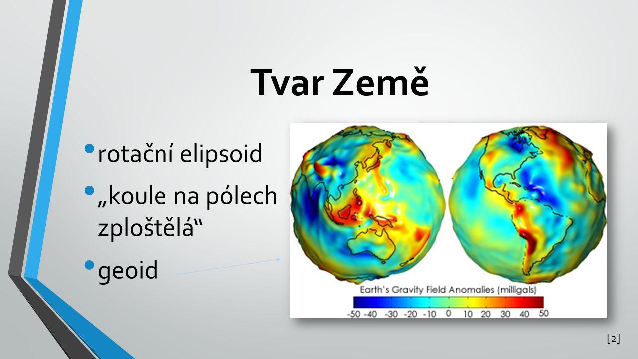 """Tvar Země rotační elipsoid """"koule na pólech zploštělá geoid [2][2]"""