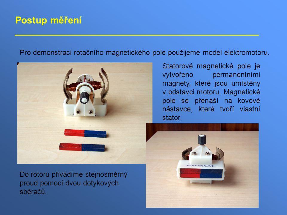 Postup měření Pro demonstraci rotačního magnetického pole použijeme model elektromotoru. Statorové magnetické pole je vytvořeno permanentními magnety,