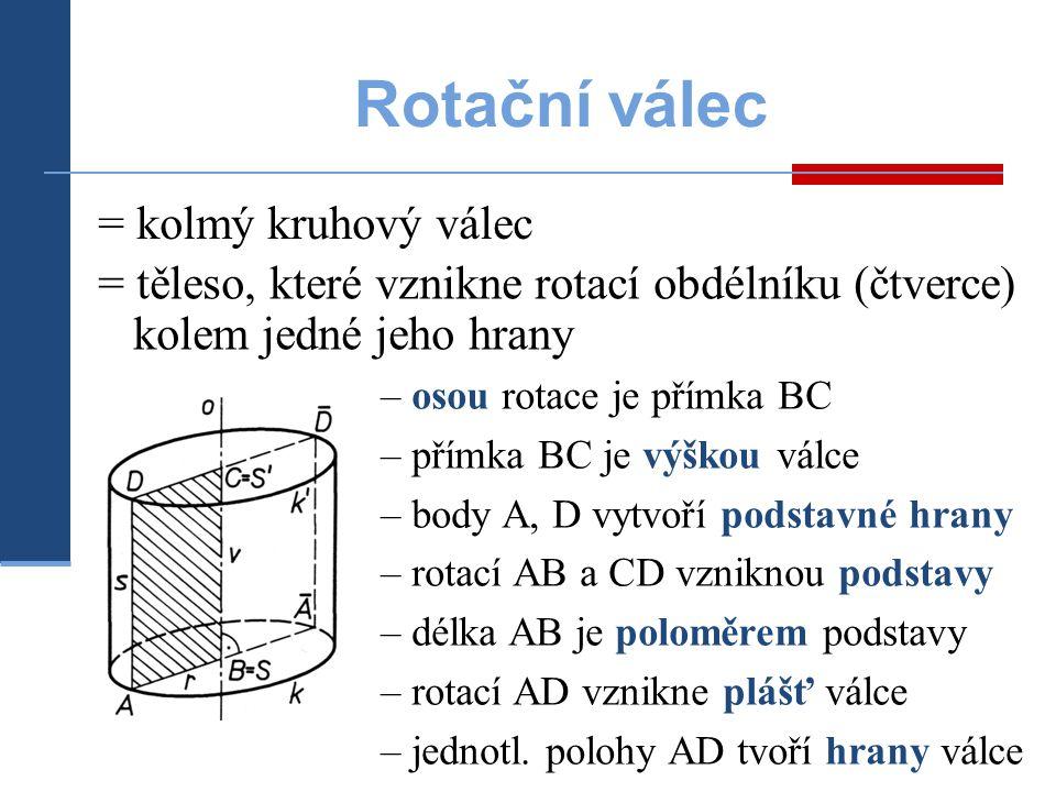 = těleso, které vznikne rotací obdélníku (čtverce) kolem jedné jeho hrany Rotační válec – osou rotace je přímka BC – přímka BC je výškou válce – body