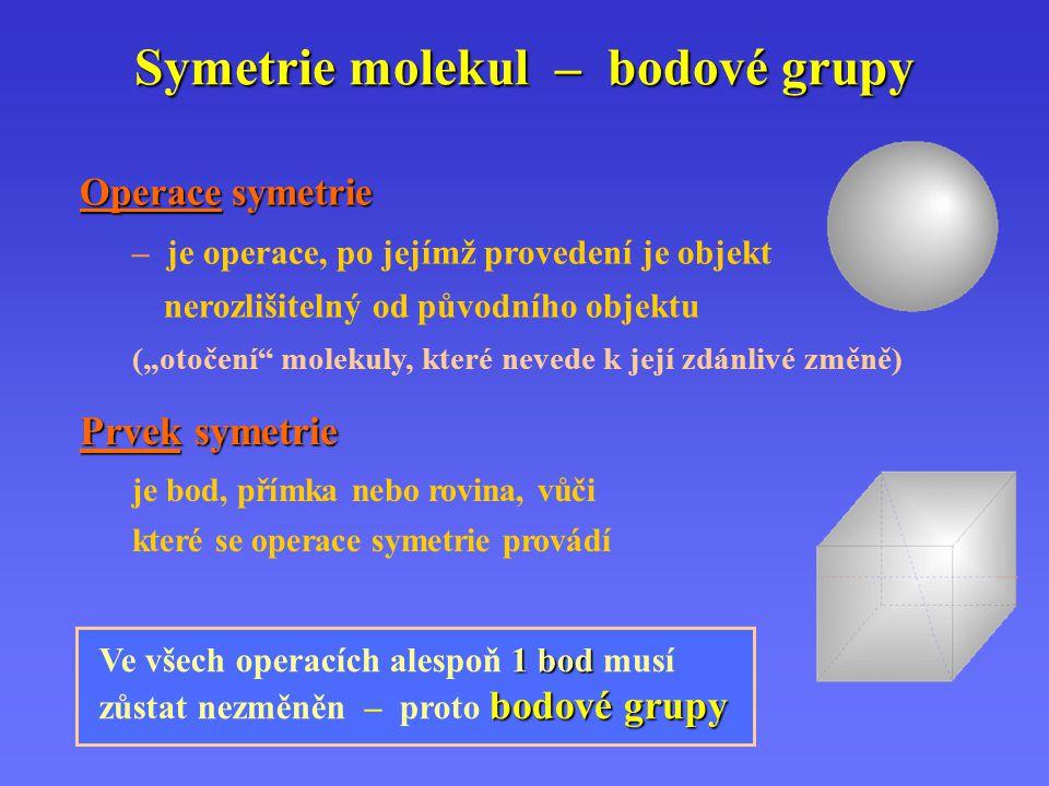 Operace bodové symetrie a prvky symetrie n CiCniCiCni rotace o 2  /n následovaná inverzí n-četná nevlastní osa n-četná nevlastní osa (rotačně inverzní) n SSnSSn rotace o 2  /n následovaná zrcadlením v rovině kolmé na rotační osu n-četná nevlastní osa n-četná nevlastní osa (rotačně reflexní) 1i inverze střed inverze m zrcadlení rovina zrcadlení n CCnCCn rotace o 2  /n n-četná rotační osa 1 E, I E, I rotace o 360º identita Hermann- Mauguinovy symboly Schoenfliesovy symboly Operace symetriePrvek symetrie ~ SSnSSn S 1 = , S 2 = i