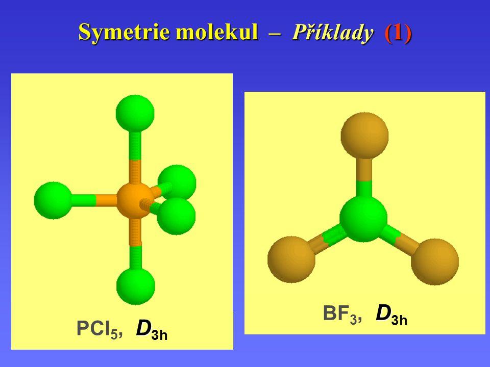 Symetrie molekul – Příklady ( 1 ) DDhDDh CCvCCv D BF 3, D 3h D PCl 5, D 3h