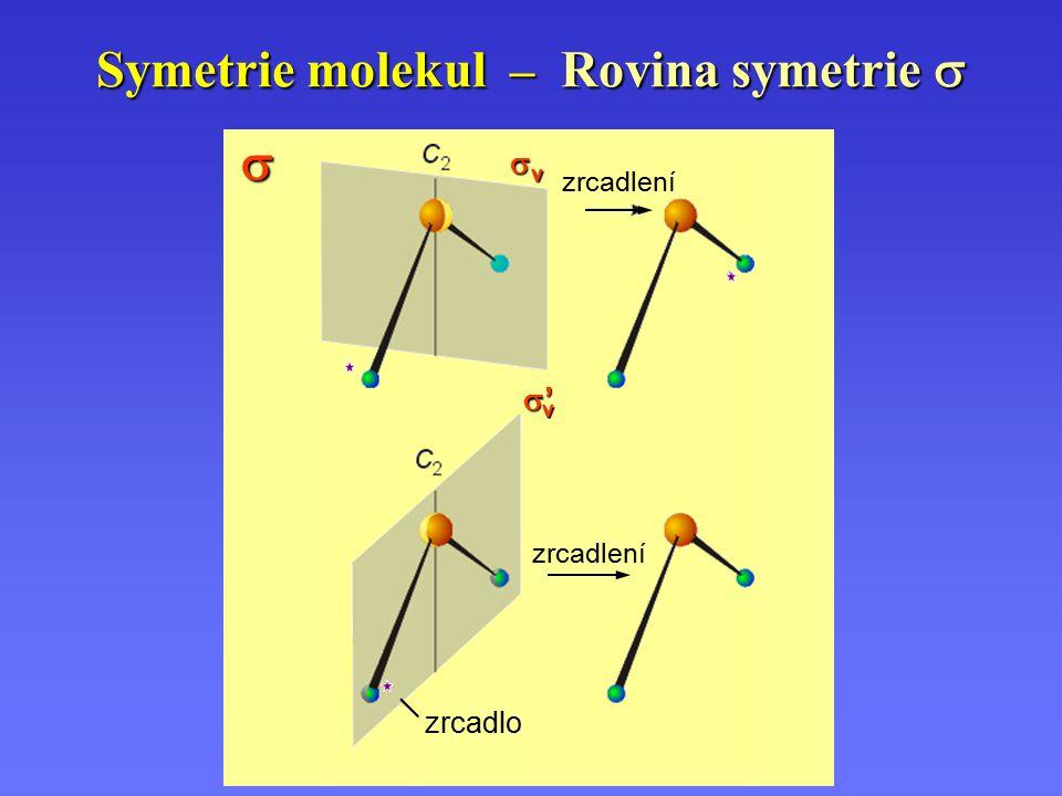 Symetrie molekul – Rovina symetrie   zrcadlo zrcadlení vvvv '''' v