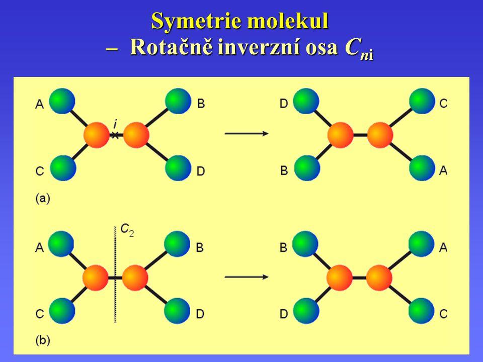 Operace a prvky symetrie – ( 1 ) Operace a prvky symetrie – přehled ( 1 ) CO, HCl, OCS E, C ,    v CvCv NH 3, PCl 3, POCl 3 E, C 3, 3  v C 3v SO 2 Cl 2, H 2 O E, C 2,  v,  v C 2v N H F2N H F2 E,  CsCs H2O2H2O2 E, C 2 C2C2 Si Br Cl F I E C1C1 PříkladyTvarPrvky symetrieBG