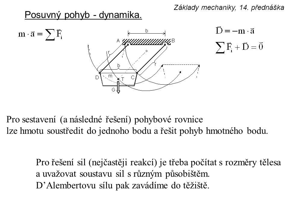 Posuvný pohyb - dynamika. Pro sestavení (a následné řešení) pohybové rovnice lze hmotu soustředit do jednoho bodu a řešit pohyb hmotného bodu. Pro řeš