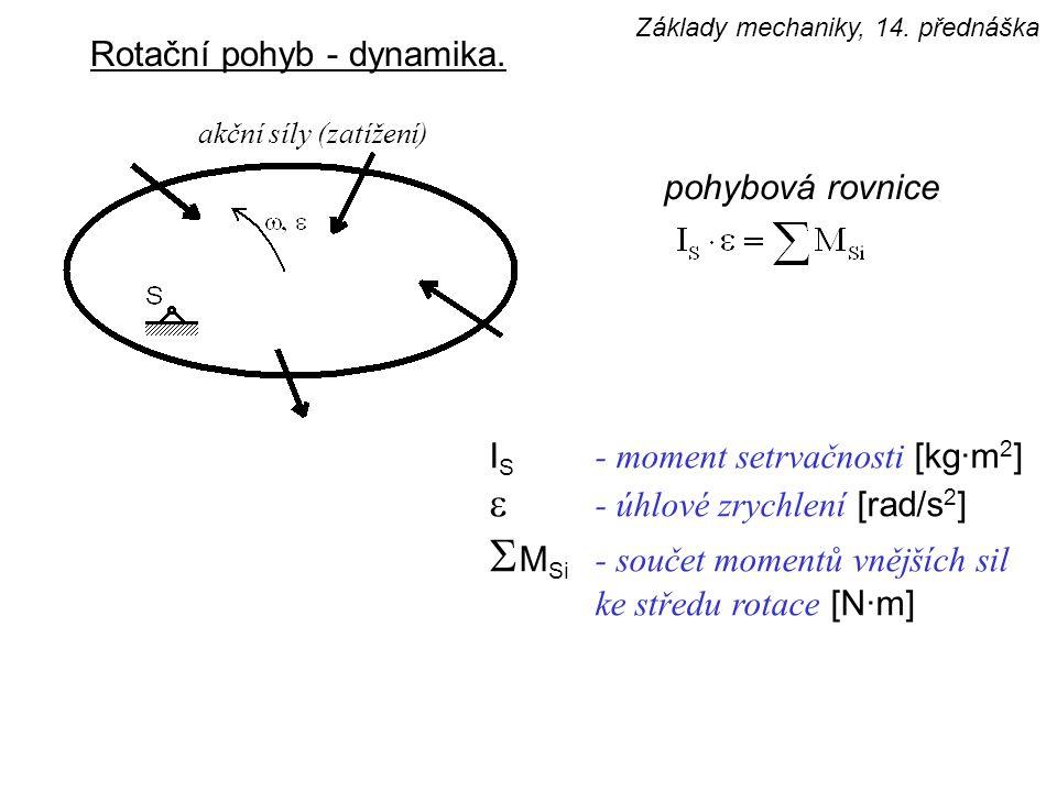 Rotační pohyb - dynamika. I S - moment setrvačnosti [kg·m 2 ]  - úhlové zrychlení [rad/s 2 ]  M Si - součet momentů vnějších sil ke středu rotace [N