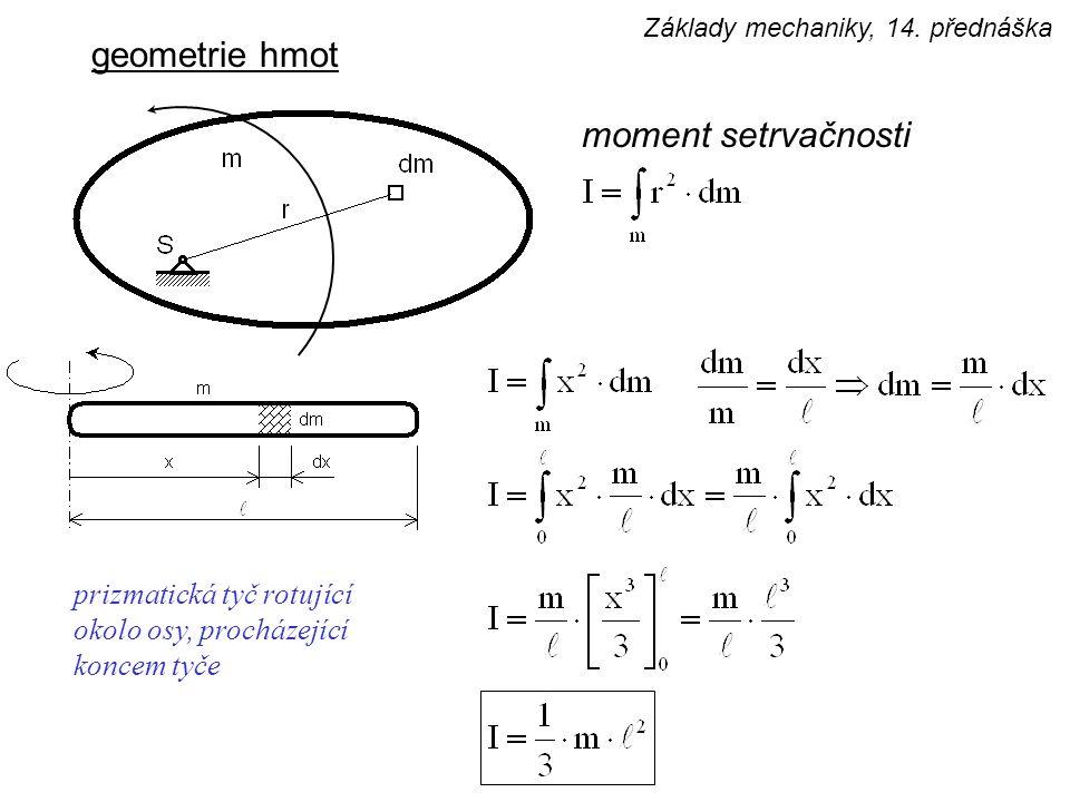 geometrie hmot moment setrvačnosti prizmatická tyč rotující okolo osy, procházející koncem tyče Základy mechaniky, 14. přednáška