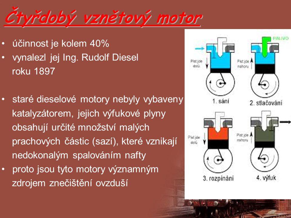 Čtyřdobý vznětový motor účinnost je kolem 40% vynalezl jej Ing. Rudolf Diesel roku 1897 staré dieselové motory nebyly vybaveny katalyzátorem, jejich v