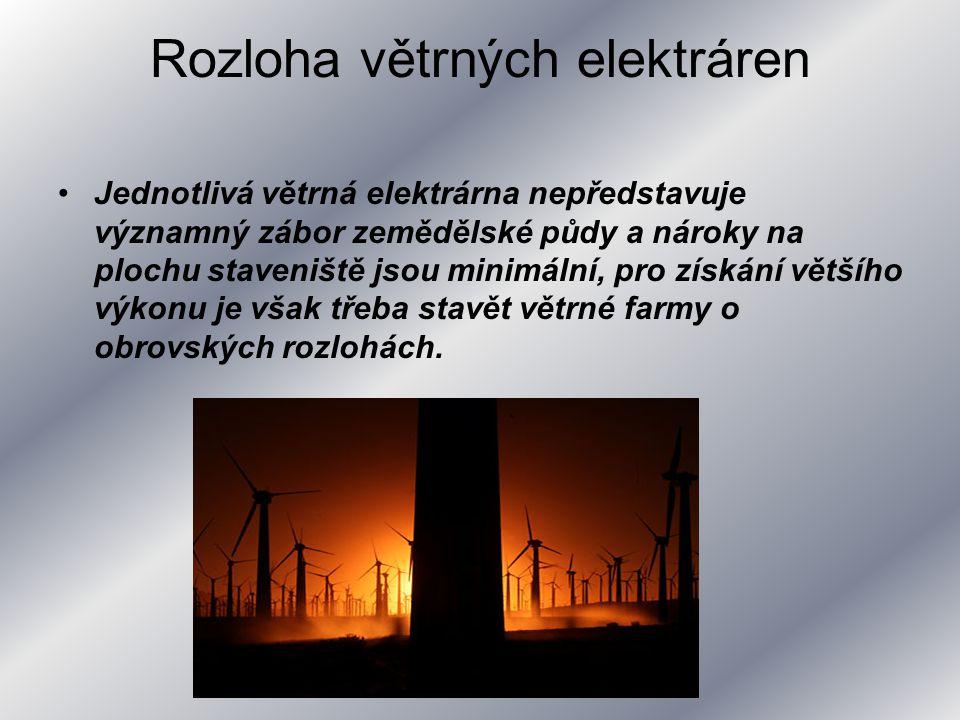 Rozloha větrných elektráren Jednotlivá větrná elektrárna nepředstavuje významný zábor zemědělské půdy a nároky na plochu staveniště jsou minimální, pr
