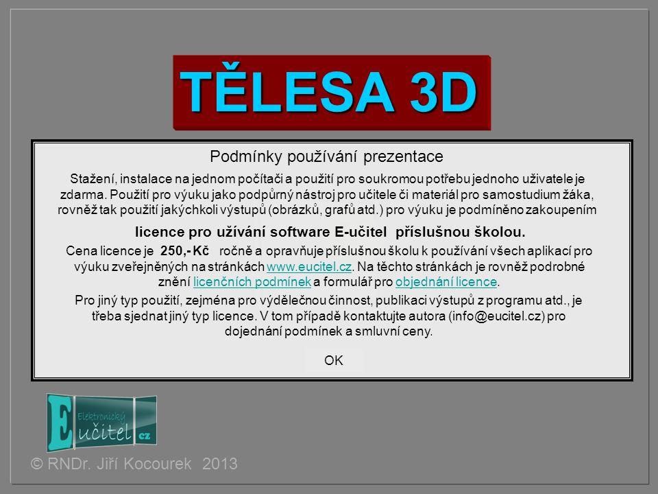 TĚLESA 3D © RNDr. Jiří Kocourek 2013 Podmínky používání prezentace Stažení, instalace na jednom počítači a použití pro soukromou potřebu jednoho uživa