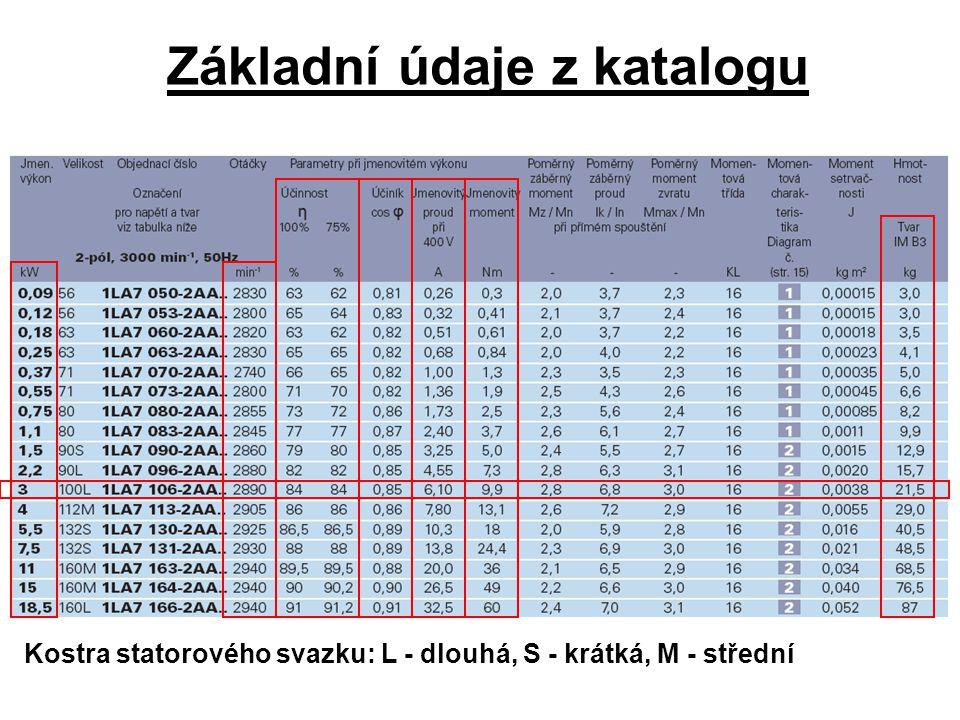 Základní údaje z katalogu Kostra statorového svazku: L - dlouhá, S - krátká, M - střední