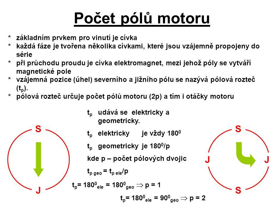 Počet pólů motoru *základním prvkem pro vinutí je cívka *každá fáze je tvořena několika cívkami, které jsou vzájemně propojeny do série *při průchodu