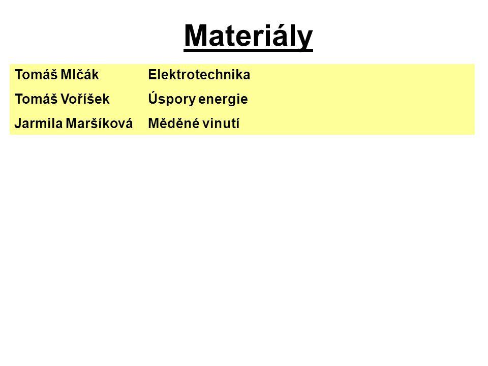 Materiály Tomáš MlčákElektrotechnika Tomáš VoříšekÚspory energie Jarmila MaršíkováMěděné vinutí