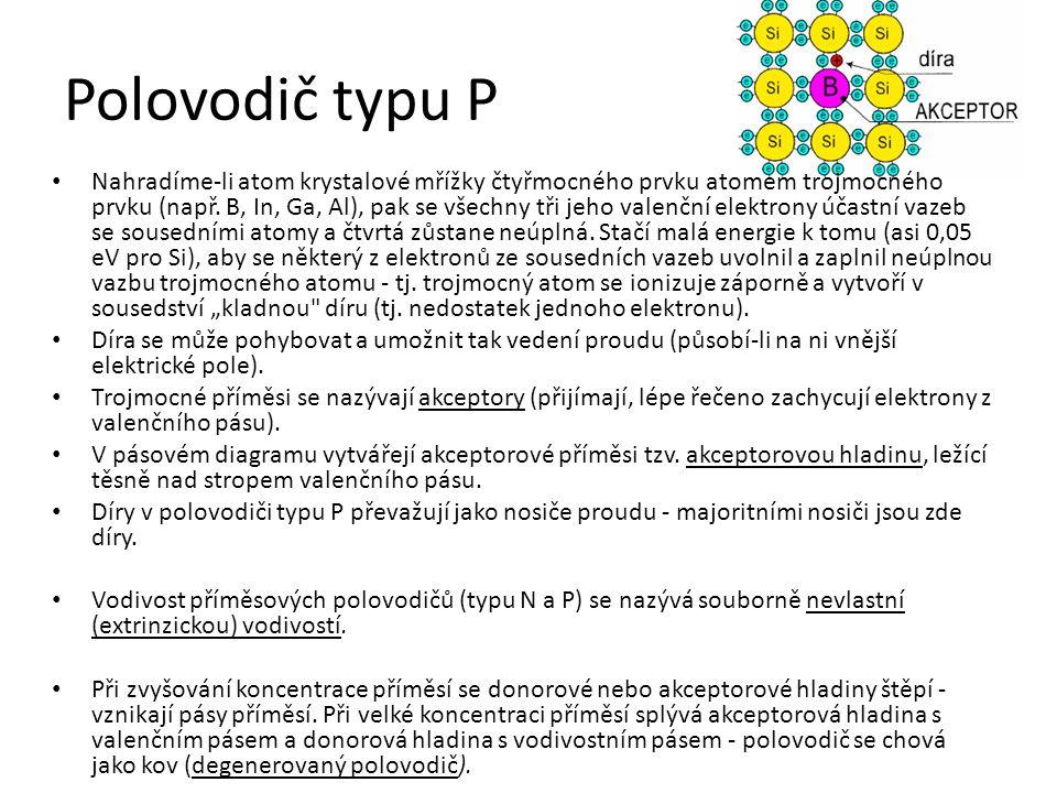 Polovodič typu P Nahradíme-li atom krystalové mřížky čtyřmocného prvku atomem trojmocného prvku (např.