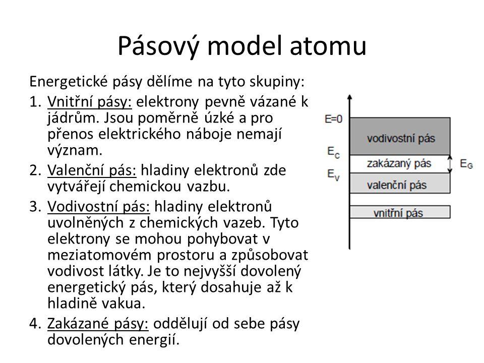 Pásový model atomu Energetické pásy dělíme na tyto skupiny: 1.Vnitřní pásy: elektrony pevně vázané k jádrům. Jsou poměrně úzké a pro přenos elektrické