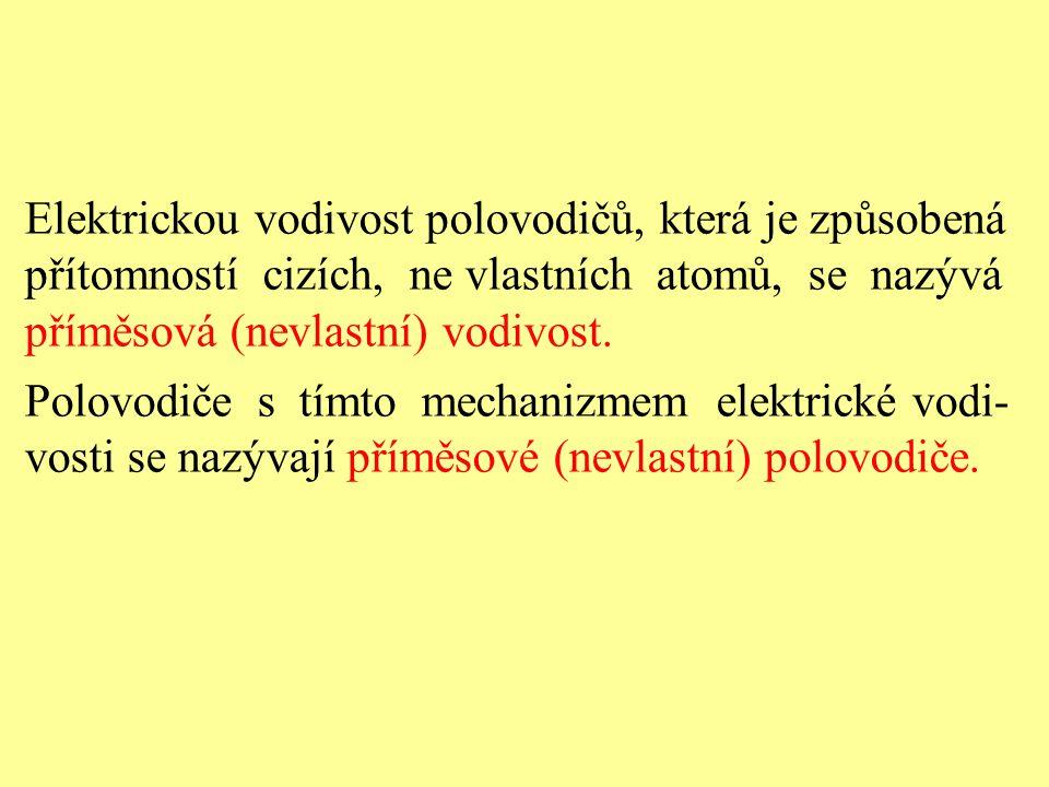 Elektrickou vodivost polovodičů, která je způsobená přítomností cizích, ne vlastních atomů, se nazývá příměsová (nevlastní) vodivost. Polovodiče s tím