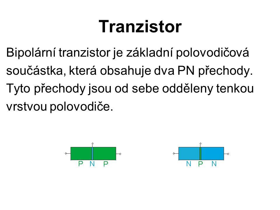 Tranzistor Bipolární tranzistor je základní polovodičová součástka, která obsahuje dva PN přechody. Tyto přechody jsou od sebe odděleny tenkou vrstvou