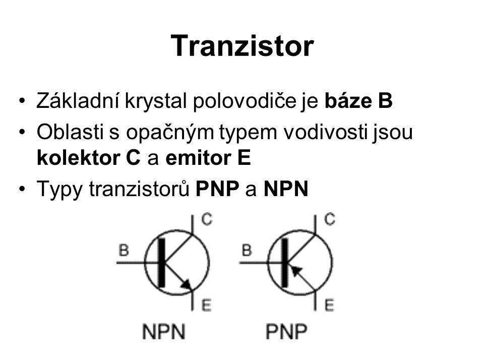Tranzistor Základní krystal polovodiče je báze B Oblasti s opačným typem vodivosti jsou kolektor C a emitor E Typy tranzistorů PNP a NPN