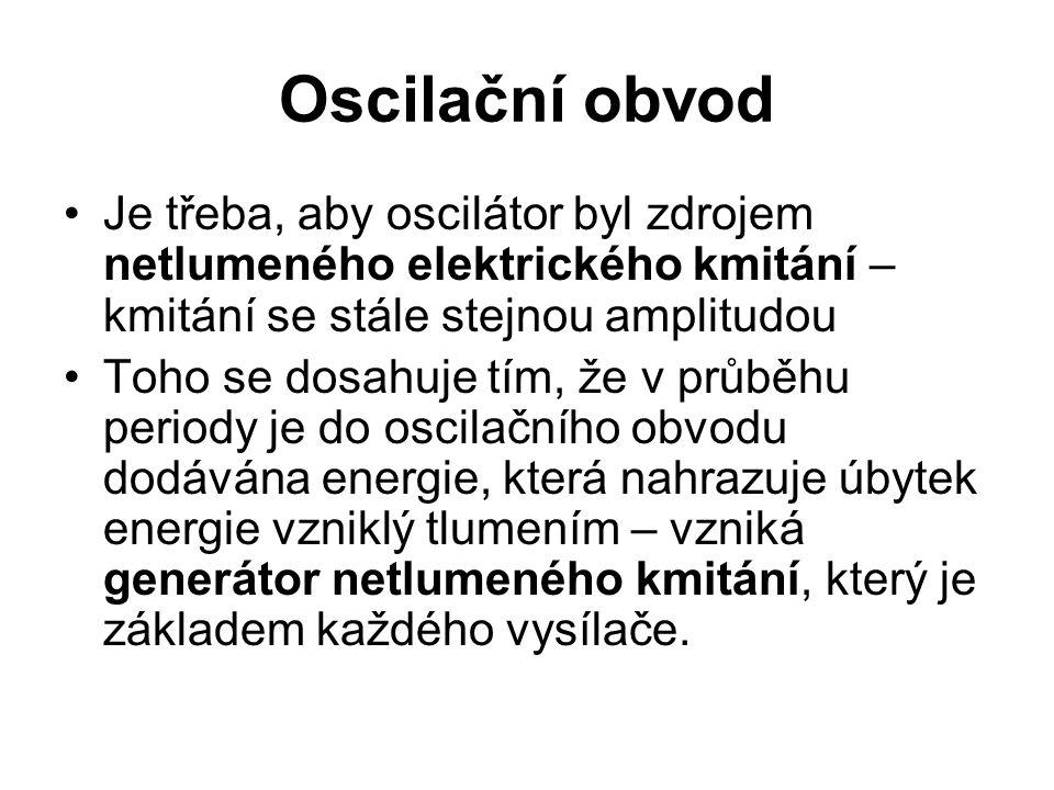 Oscilační obvod Je třeba, aby oscilátor byl zdrojem netlumeného elektrického kmitání – kmitání se stále stejnou amplitudou Toho se dosahuje tím, že v